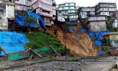 Landslide near houses