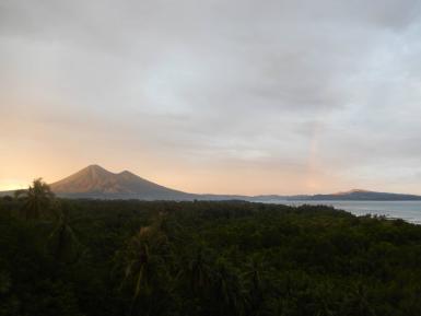 Sunset rainbow view of Lembeh island