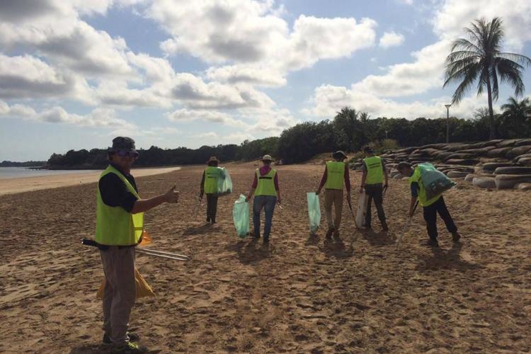 Beach cleanup volunteers in Australia