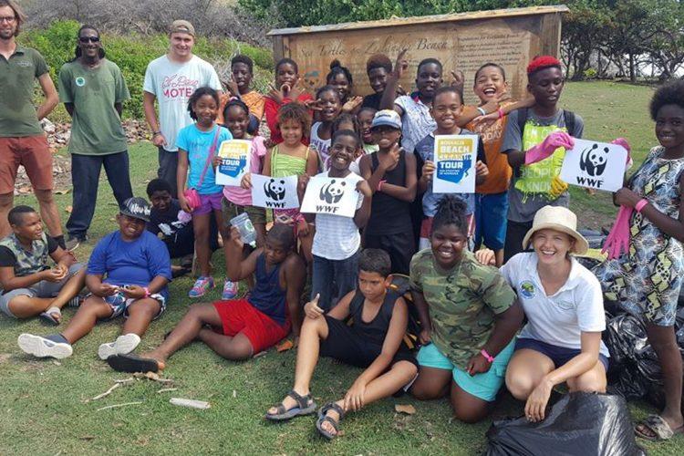 Volunteers with the local community in St Eustatius