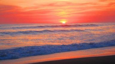 Sunset on Ostional beach in Costa Rica