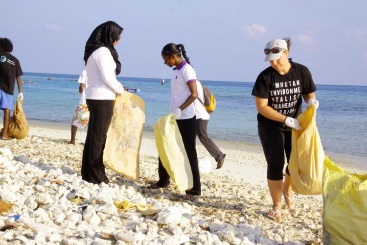 Environmental volunteers cleaning the beach