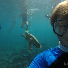 Intern Alex and volunteers with turtle swimming