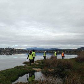 Volunteer by the lake in Australia