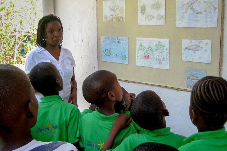Kenyan school children learning