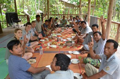 Staff and volunteers having lunch at sanctuary
