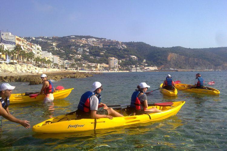 Conservation volunteers kayaking in Denia