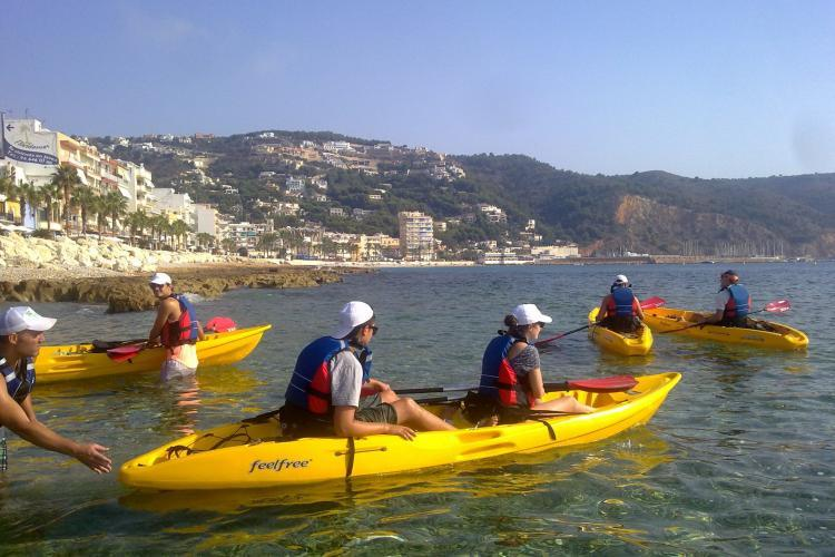 Conservation volunteers kayaking in Denia