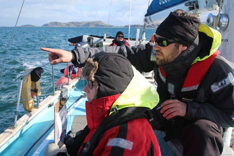 Volunteers observing cetaceans from boat