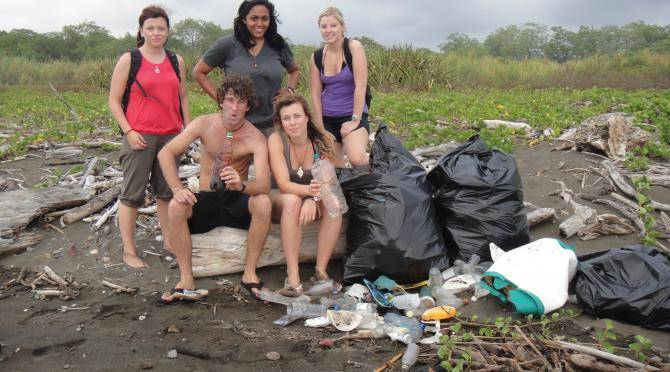 Volunteers cleaning trash on beaches in Costa Rica