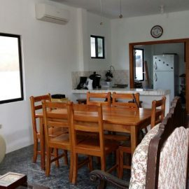 Dining area for volunteers in Galapagos