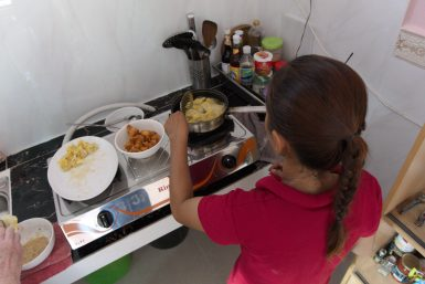 Cooking in the volunteer house