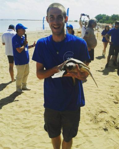 Volunteer holding a sea turtle in Denia