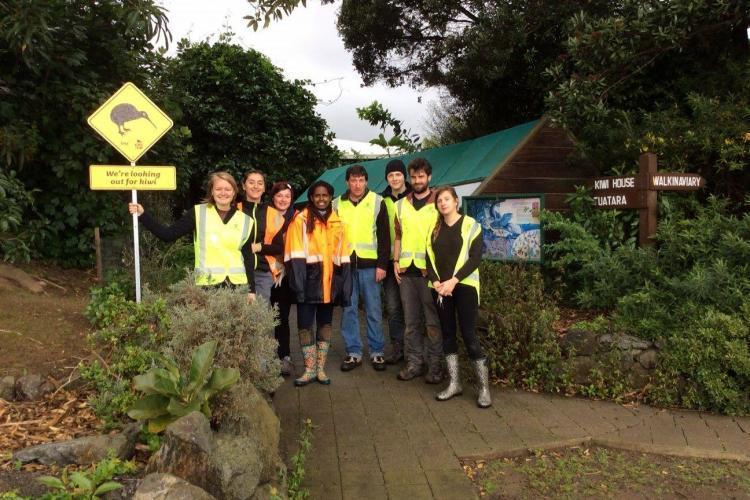 Volunteers at Kiwi Park in New Zealand