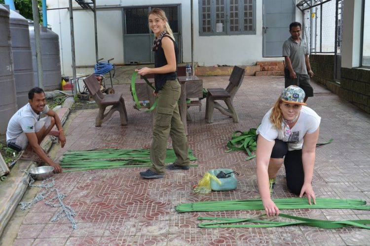 Volunteers making bear hammock