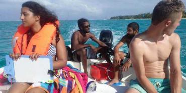 Volunteers on boat in Mauritius