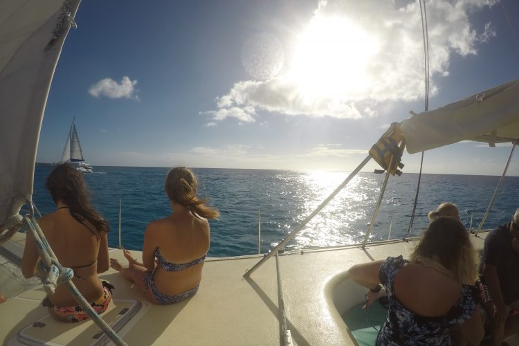Sunset on boat with volunteers in Mauritius