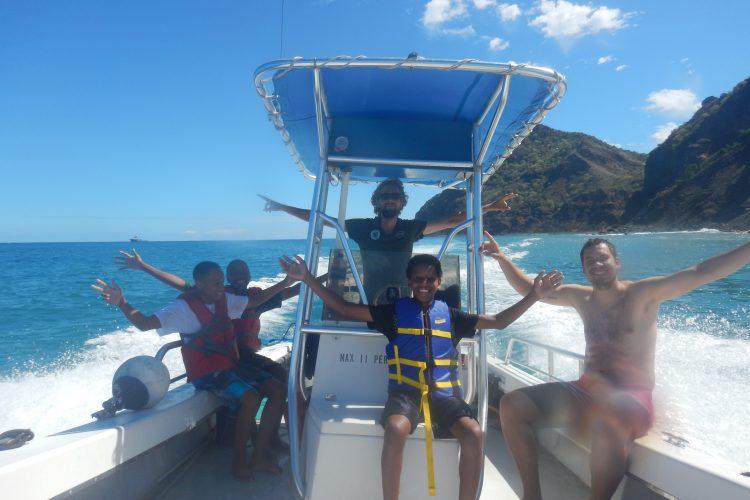 Volunteers on speedboat in St Eustatius