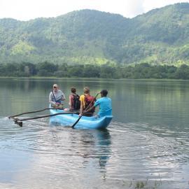 Volunteers on lake