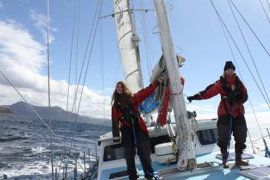 Volunteers sailing in the Hebrides