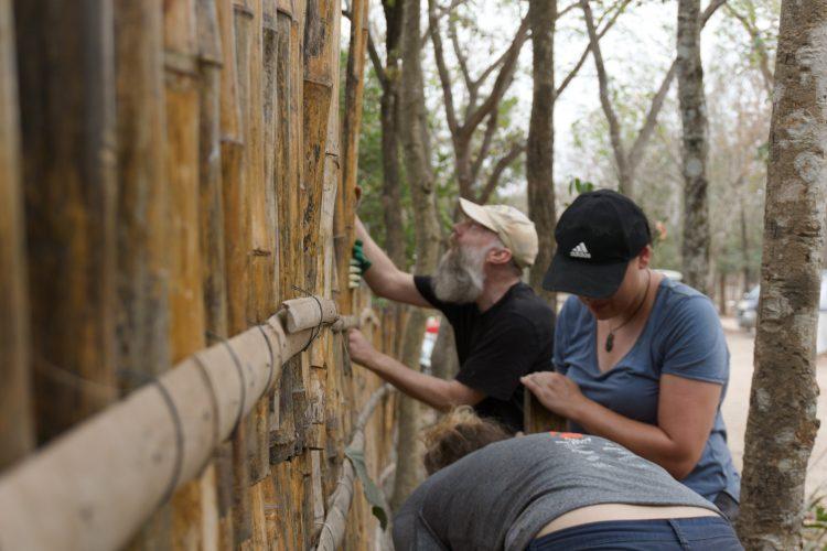 Volunteers working on enclosure fence
