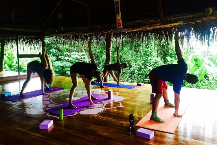 Volunteers doing warrior pose yoga in Costa Rica