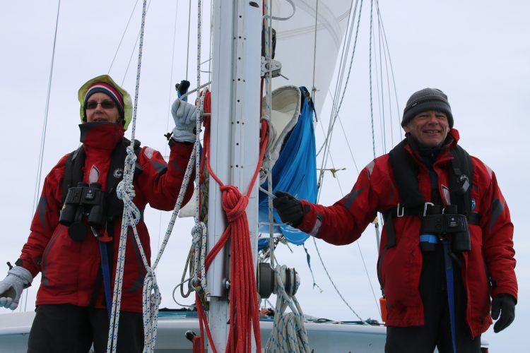Volunteers surveying from the mast in Scotland