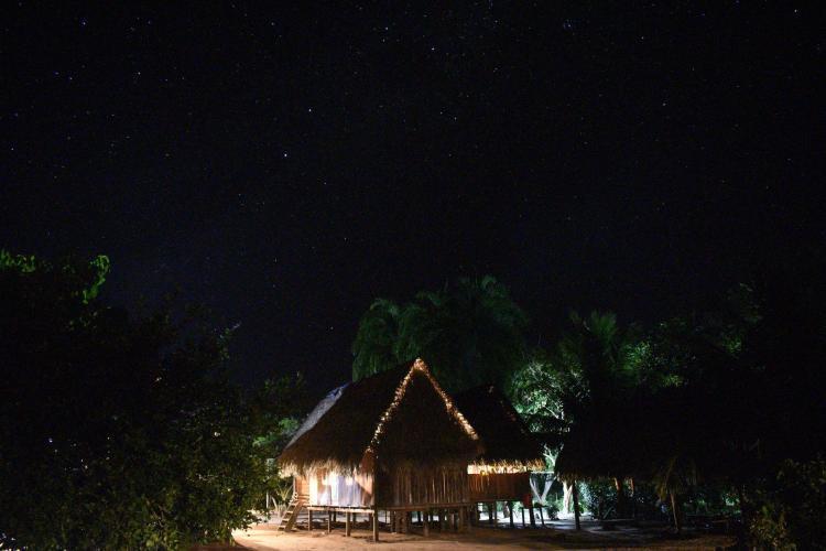 Community at night in Amazon