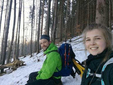 Elly and volunteer on White Wilderness project