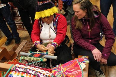 Local showing student weaving