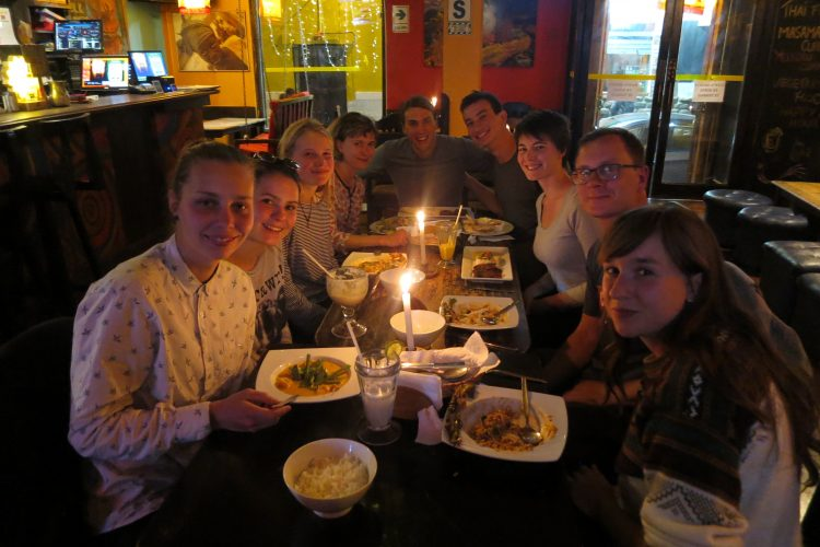 Weekly dinner with students