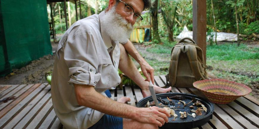 Volunteer with mushrooms