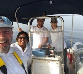 Volunteers on boat Croatia Bottlenose