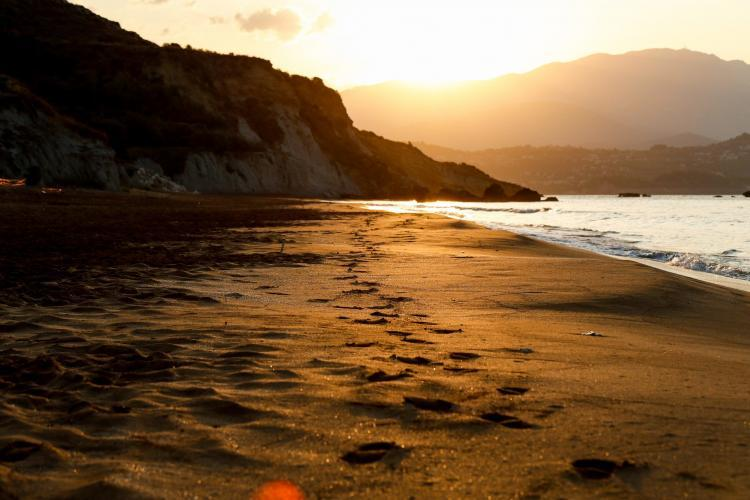 Beach with footprints in Greece