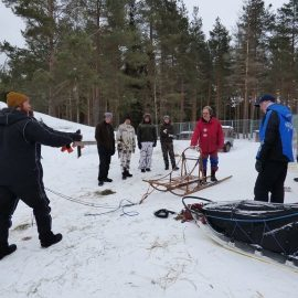 Volunteers preparing sled in slovakia
