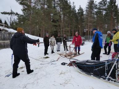Volunteers preparing sled in slovakia
