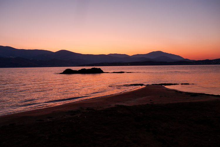 Sunset on Lixouri coast in Greece