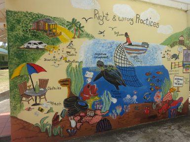 Turtle wall by volunteers