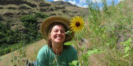 Happy volunteer in the nature in Oregon
