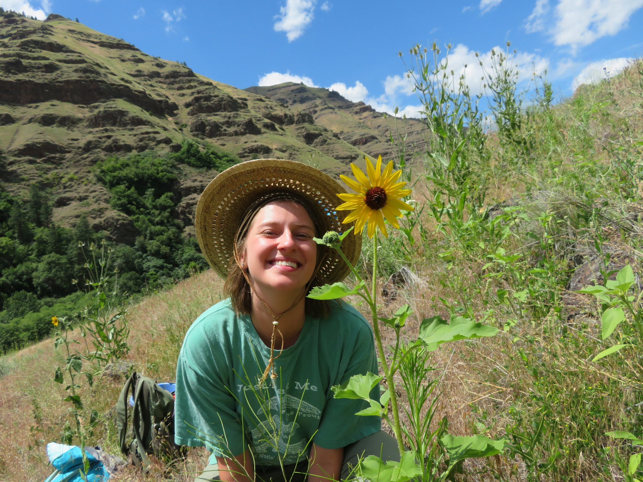 Happy volunteer in the nature in Oregon
