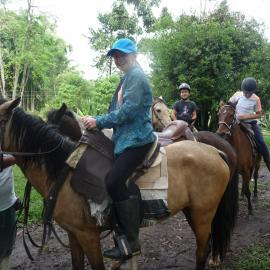 Volunteer on horseback Ecuador cloud forest