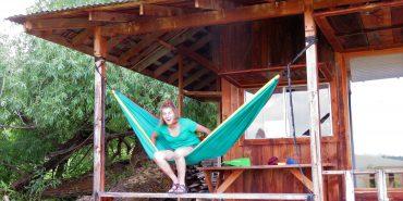 Volunteer on hammock in Oregon