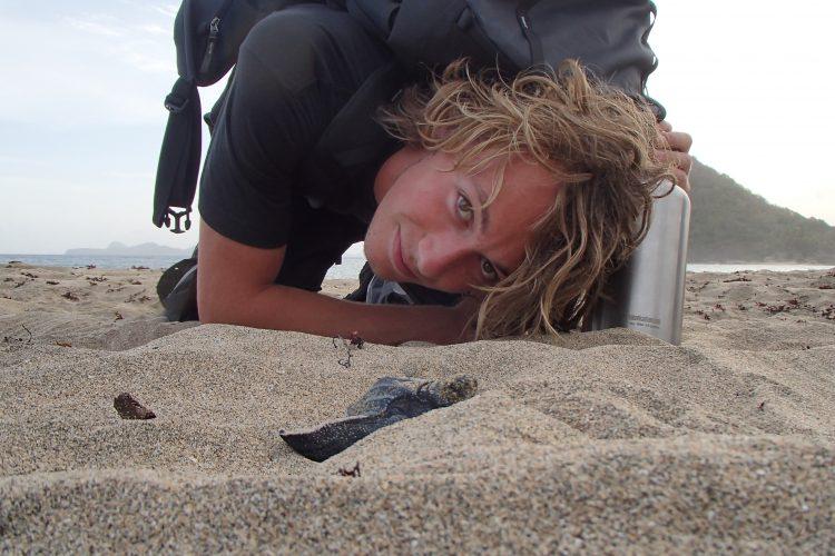 Volunteer watching turtles nest in Grenada