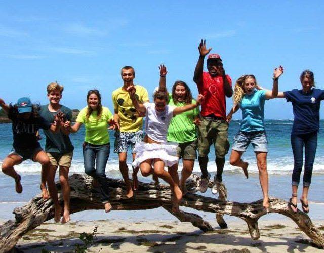 Volunteers jumping summer camp Grenada