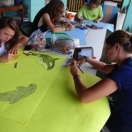 Volunteers preparing banners
