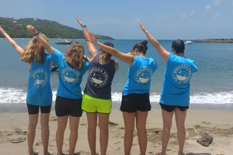 Volunteers on beach in Grenada
