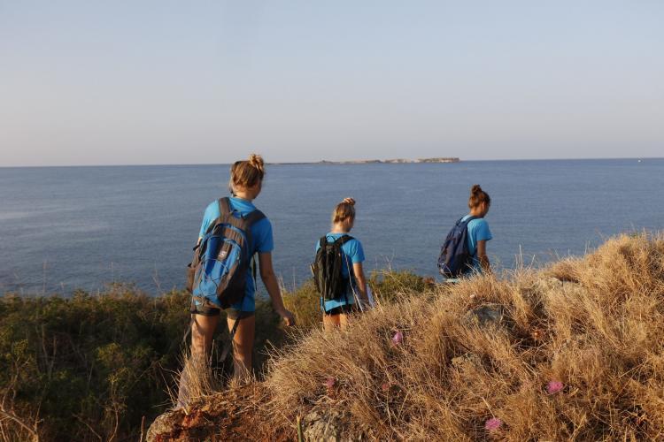 Volunteers walking in Greece