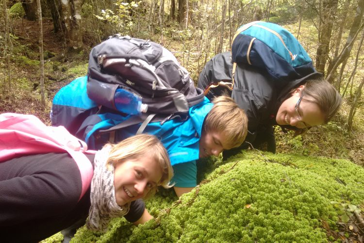 Conservation volunteers with moss New Zealand
