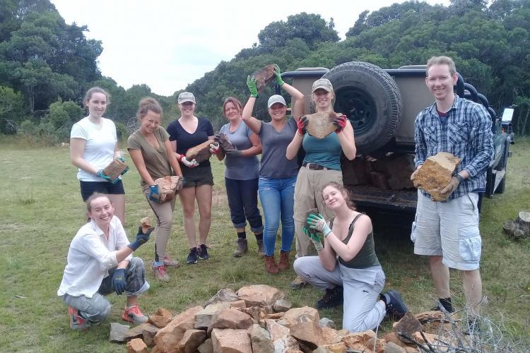 Volunteers doing maintenance work at Kariega