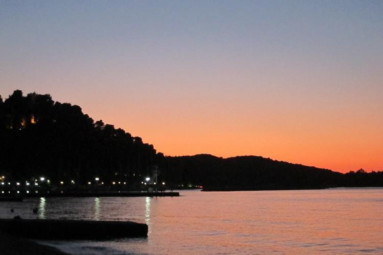 Vonitsa harbour at sunset